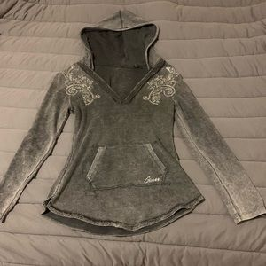 Guess hooded top with rhinestone detail.  Like new